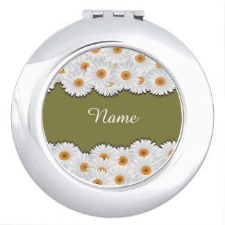 ひな菊の花輪の名前入りな密集した鏡