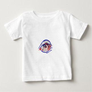 ひびが付いている青い充血した目 ベビーTシャツ