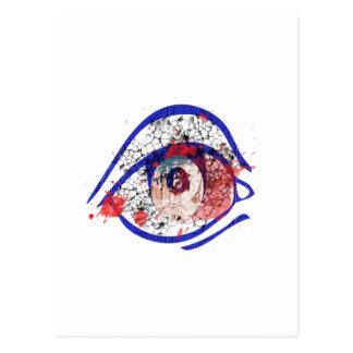 ひびが付いている青い充血した目 ポストカード