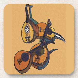 ひもでつながれた楽器 コースター