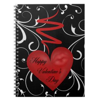 ひものハッピーバレンタインデーの白の渦巻のハート ノートブック