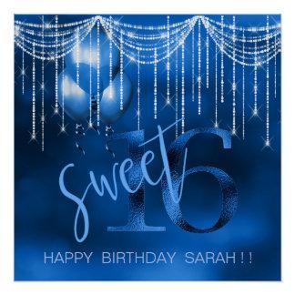 ひものライト及び気球の菓子16 Dk青いID473 ポスター