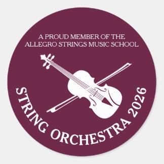 ひもの学校のバイオリン音楽的なコンサートのステッカー ラウンドシール