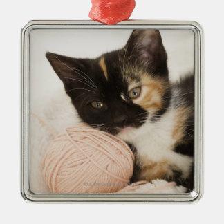 ひもの球に置いている子ネコ メタルオーナメント