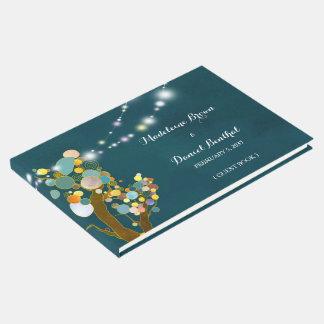 ひもの軽い木のティール(緑がかった色)の結婚式 ゲストブック