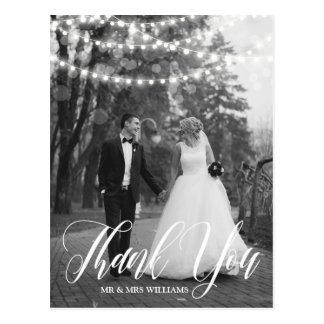ひもライト原稿の結婚式の写真は感謝していしています ポストカード