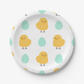 ひよこおよび卵のイースターかわいい描かれた黄色いパターン ペーパープレート