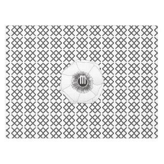 ひよこの白く黒いアネモネパターン テーブルクロス