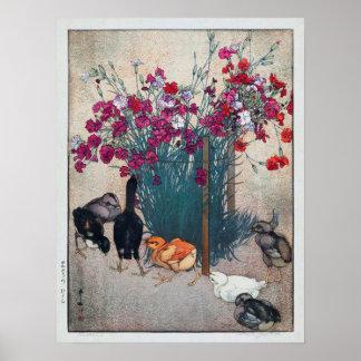 ひよこ、ナデシコ及びひよこ、ひろし吉田の木版画 ポスター