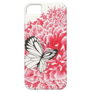 ひらひら飛び回はえ蝶およびシャクヤクのiPhone 5/5sの場合 iPhone SE/5/5s ケース