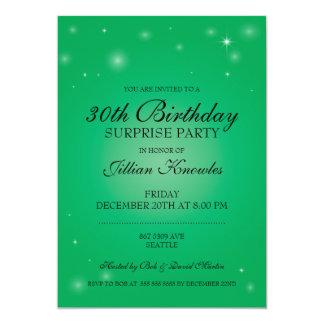 びっくりパーティのエレガントな緑のきらめくな球体の星 カード