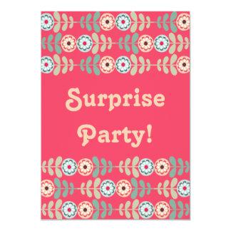 びっくりパーティのシックなピンクのレトロの花柄 カード