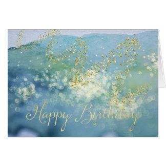 ぴかぴか光った青い水彩画のバースデー・カード グリーティングカード