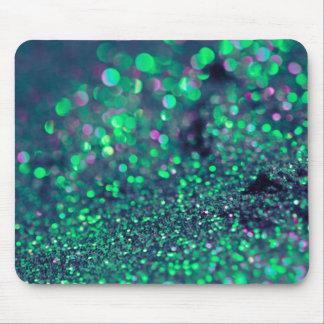 ぴかぴか光る緑のグリッターの皮 マウスパッド