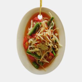 ぴりっとするパパイヤサラダ[ソムTam]…タイのラオス人の食糧 セラミックオーナメント