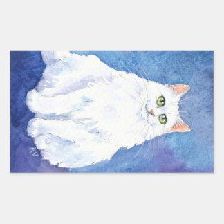 ふくよかで白い猫のステッカー 長方形シール