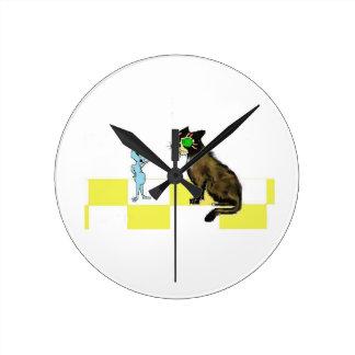 ふりかけられた猫の柱時計 ラウンド壁時計