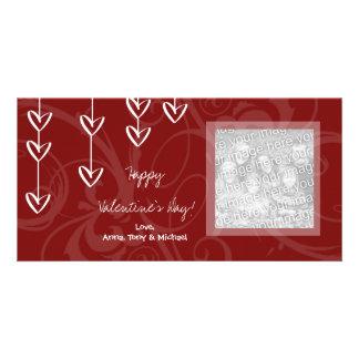 ぶら下がったなハートのバレンタインデーの写真カード カード