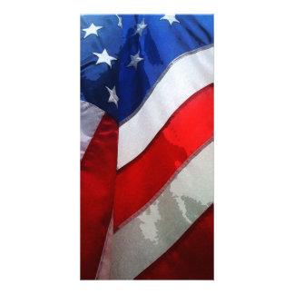ぶら下がったな米国旗の水彩画 カード