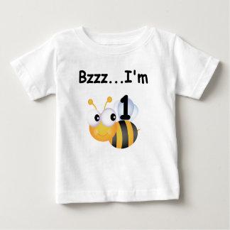 ぶんぶん言う音の《昆虫》マルハナバチの第1誕生日のTシャツおよびギフト ベビーTシャツ