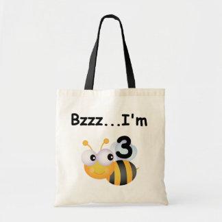 ぶんぶん言う音の《昆虫》マルハナバチの第3誕生日のTシャツおよびギフト トートバッグ
