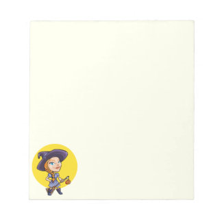 ほうきのハロウィンの漫画を持つかわいい魔法使い ノートパッド