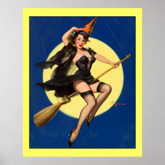 ほうきのピンナップの女の子のヴィンテージのGil Elvgrenの魔法使い ポスター