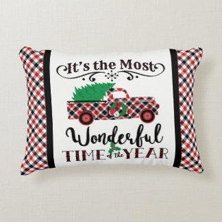 ほとんどのすばらしい時間のクリスマスの格子縞のトラックの枕 アクセントクッション