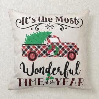 ほとんどのすばらしい時間のクリスマスの格子縞のトラックの枕 クッション