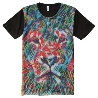 ほとんどのジャマイカの人気があるなライオン魔法音楽芸術 オールオーバープリントT シャツ