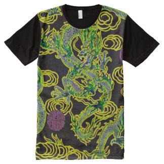ほとんどの人気があるで中国のなドラゴンのネオン炎の芸術 オールオーバープリントT シャツ