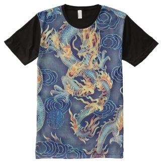 ほとんどの人気があるで中国のな皇帝のドラゴンのクロム芸術 オールオーバープリントT シャツ