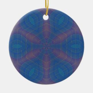 ほとんど六角形の万華鏡のように千変万化するパターンの曼荼羅 セラミックオーナメント