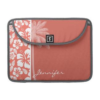 ほろ苦い色の熱帯ハイビスカス; 夏のやし MacBook PROスリーブ