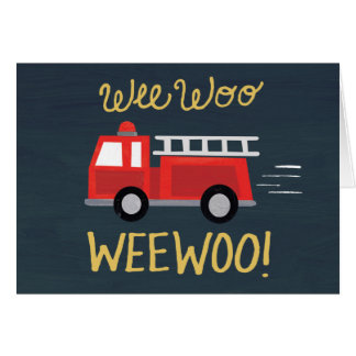 ほんの少しは懇願します! 普通消防車のバースデー・カード カード