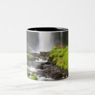 ぼやけられた滝および川 ツートーンマグカップ