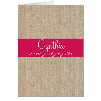 ぼろぼろのシックで明るいピンクのバーラップの新婦付添人の要求 カード