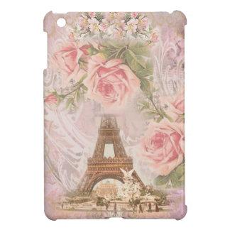 ぼろぼろのシックなエッフェル塔のピンクの花柄のコラージュ iPad MINIカバー