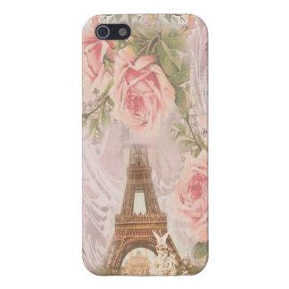 ぼろぼろのシックなエッフェル塔のピンクの花柄のコラージュ iPhone SE/5/5sケース