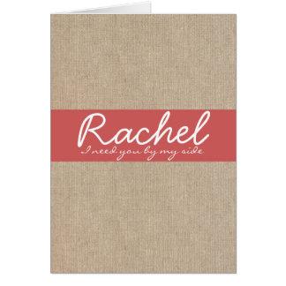 ぼろぼろのシックなカイエンヌの赤いバーラップの新婦付添人の要求 カード