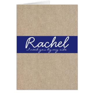 ぼろぼろのシックなサファイアの青いバーラップの新婦付添人カード カード