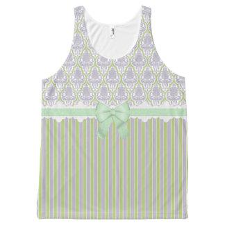 ぼろぼろのシックなダマスク織及び弓薄紫の白い緑 オールオーバープリントタンクトップ