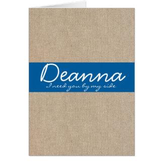 ぼろぼろのシックなデニムの青いバーラップの新婦付添人カード カード
