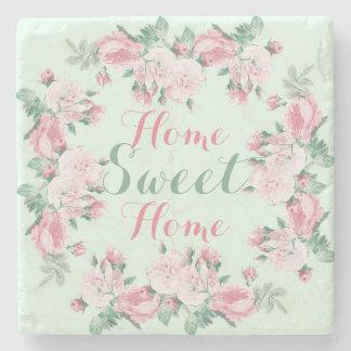 ぼろぼろのシックなバラによっては甘い家のコースターが家へ帰ります ストーンコースター