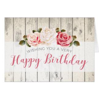 ぼろぼろのシックなバラの素朴な木製のカスタムな誕生日 カード
