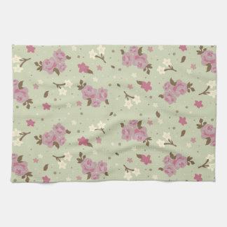 ぼろぼろのシックなピンクのバラパターン キッチンタオル