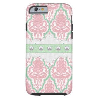 ぼろぼろのシックなピンク及びティール(緑がかった色)のダマスク織 iPhone 6 タフケース