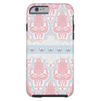 ぼろぼろのシックなピンク及び青いダマスク織 iPhone 6 タフケース