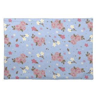 ぼろぼろのシックなピンク及び青い花柄 ランチョンマット