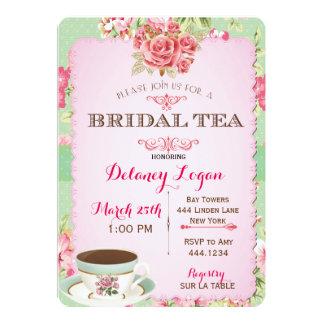ぼろぼろのシックなブライダルシャワーの茶招待状 カード